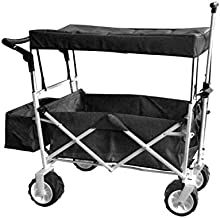 Black Jumbo Wheel Push and Pull Handle Folding Wagon All Purpose Garden Utility Beach Shopping Travel CART Outdoor Sport Collapsible with Canopy Cover Free ICE Cooler Bag Easy Setup NO Tool Necessary