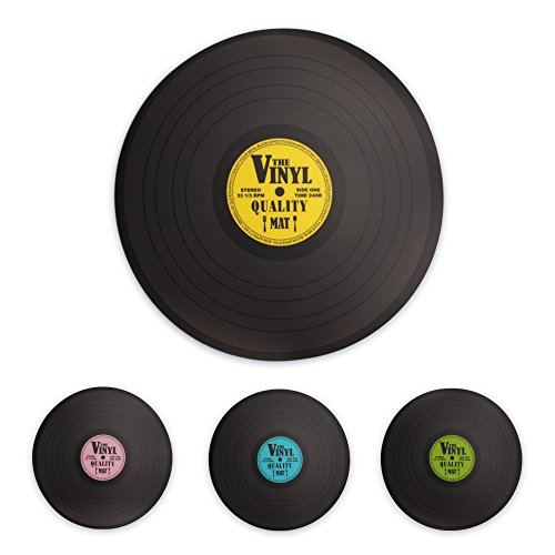 Kunststoff Tischsets Untersetzer im Retro 80er Style im 4er SET als Schallplatte