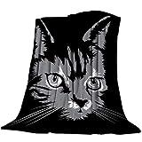 Manta de Franela para sofá, sofá Cama, Gato Dibujado a Mano en la Oscuridad, Suave, acogedora, Ligera, Manta para Adultos / niños