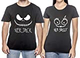 Her Jack His Sally Couple Matching T-Shirts Halloween Nightmare Before Christmas Tee - More Colors (Black)