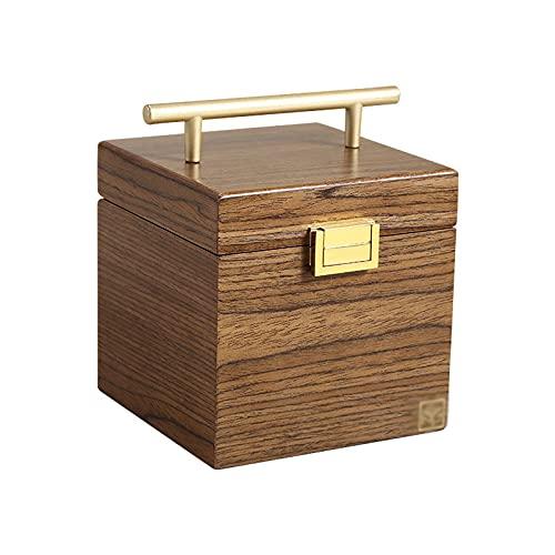 Caja de Joyas Caja de joyería de madera maciza para mujer Joyería Armario Anillo Anillo Collar Caja de almacenamiento de regalo Organizador de viaje con espejo, Color de madera de nuez Organizador de