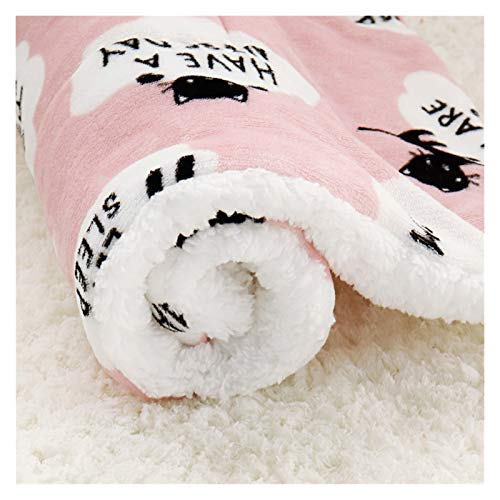 LRHYG Dog Blanket Pet Blanket Winter Dog Bed Pet Blanket Pet Sleeping Mat Warm Cat Dog Bed Cover Pet Sofa Cushion Mattress For Small Dogs Chihuahua Bulldog (Color : Pink-55x70cm)