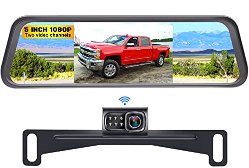 DoHonest S4 HD 1080P Digital Wireless Backup Camera with 5' Split Screen Mirror Monitor High-Speed Rear/Front View Observation System for Cars,Trucks,Vans,SUVs Super Night Vision IP69K Waterproof