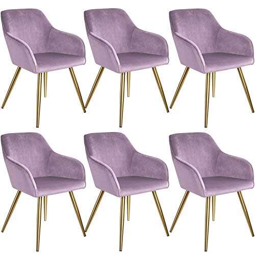 tectake 800863 Set de Seis sillas aterciopeladas, Juego de Seis sillas de Comedor tapizadas en Terciopelo, Conjunto de sillas Elegantes para la Cocina, Sillones para despacho (Rosa-Dorado)
