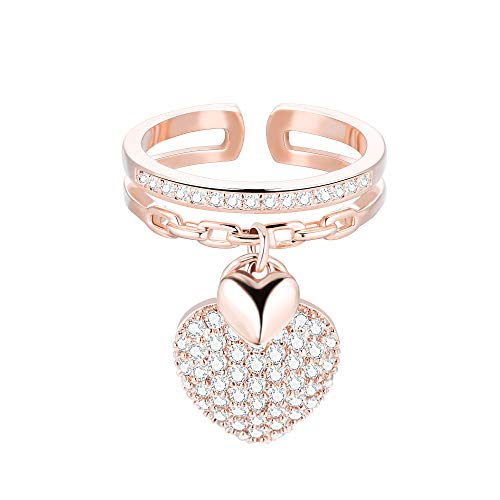 Pengjin - Anello con ciondolo a forma di cuore, adatto a donne, in rame ipoallergenico e zirconia cubica, ideale come regalo d'amore e Rame, colore: Oro rosa, cod. PJ-JZ69-TJZ0150-RG
