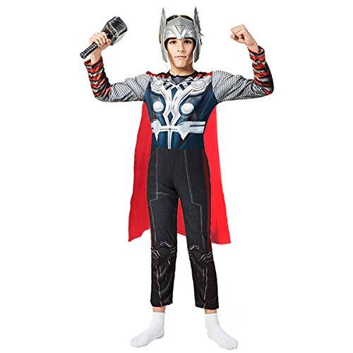 Xi Yin Children's Superhero Thor Costume Classic Muscle Costume Suit,Includes Headpiece, Hammer, Cape (Gray, Medium)