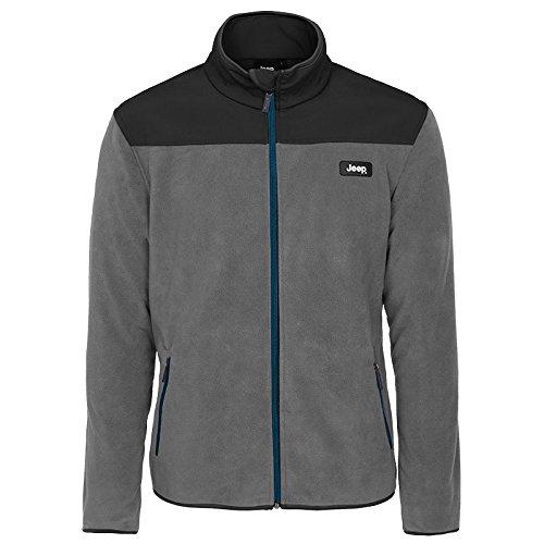 Jeep Man Polar Windfleece Jacket Sweat en Polaire, Graphite Grey/Black/Blue, S
