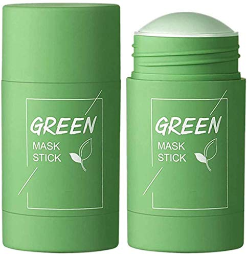 Qklovni Green Tea Purifying Clay Stick Mask Oil Control Anti-Acne Eggplant Solid Fine,Portable Cleansing Mask Mud Apply Mask,Green Tea Facial Detox Mud Mask (Green Tea)