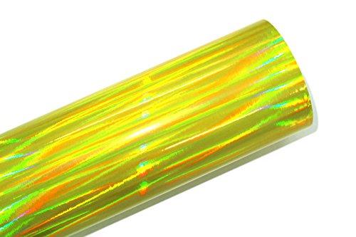 Finest Folia (24,63€/m²) Laser Hologram Chrom Gelb Auto Folie mit Luftkanäle Holographic (Muster 10x10cm)