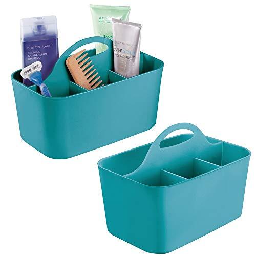 mDesign 2er-Set Badezimmer Korb mit Griff – als Kosmetik Organizer, Küchen Aufbewahrungsbox oder Handtuchhalter – kleine Bad Box aus robustem Kunststoff – türkis