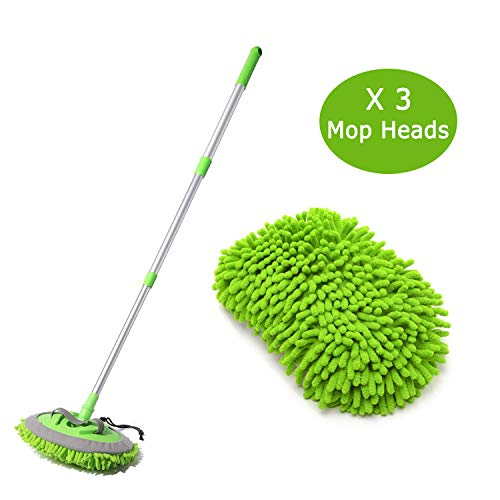 SUNPLAY 2 in 1 Car Wash Mop Mitt with Long HandleMicrofiber Car Wash Dust Brush Extension Pole 180 DegreeScratch Cleaning Tool for CarTruckRV3 Pcs Mop Heads Green
