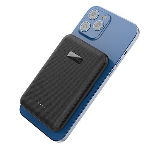 Batería Externa Inalambrica, Cargador Portátil, Power Bank Wireless Magnético 5000mAh, Charger Inalámbrica Qi 5W Tipo C Compatible con Mag-Safe iPhone 12 Pro Max Mini (Negro)