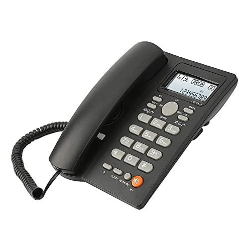 LYQQQQ Teléfono con Cable de Escritorio con Pantalla de identificación de Llamadas, teléfono Fijo con Cable para el hogar/Hotel/Oficina, Volumen Ajustable, Fecha de Tiempo Real (Color : Black)
