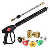 """Pressure Washer Gun by Good Outdoors, with 16"""" Extension Wand, 5 Spray Nozzle Tips, M22-14mm or M22-15mm Fitting, 40 Inches, 4000 PSI"""