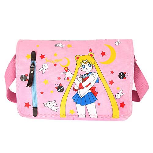 JOCHUI Canvas Anime Messenger Bag Girls Shoulder Bag Satchel School Bag Pink