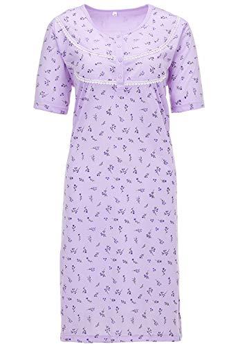 LUCKY Nachthemd Damen Kurzarm Mille Fleurs Blumen Strickbordüre, Farbe:Flieder, Größe:M