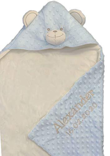 Deken met capuchon, met naam en geboortedatum, geborduurd, deken met capuchon, deken van termofrot, knuffelig warm, 75 x 100 Lichtblauw/beer - OKR-MF BX 02