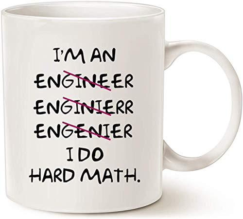 JOHN COOLL Funny Coffee Mugs Wrong I'm an Engineer, I Do Hard Math Best Motivational And Inspirational Gifts, color blanco 11 oz