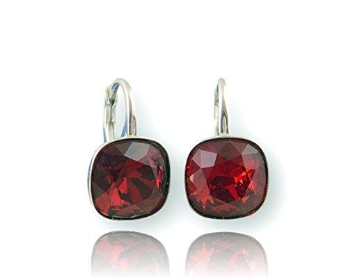 Crystals & Stones *Viele Farben* Silber 925 *SQUARE* - Ohrringe mit Kristallen von Swarovski® - Schön Ohrringe Damen Ohrhänger - Wunderbare Ohrringe mit Schmuckbox (Siam)