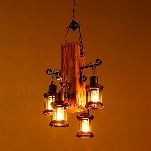 4-Luces Vintage Industria Loft Solid Wood Glass Chandelier Retro Restaurante Retro Hierro forjado Hierro de madera Pendiente Colgante Lámpara Creativa Bar Sala de estar Decoración Colgante Linterna E2