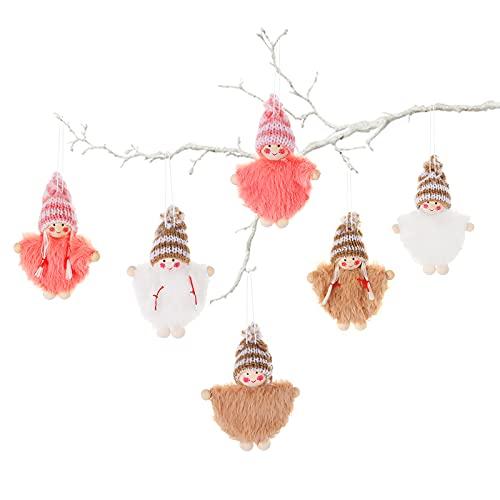 Decoraciones del árbol de navidad del ángel,Decoración árbol Navidad muñecos peluche 6 piezas,adornos colgantes ángel madera,colgantes muñecas elfo tela pequeña regalo festivo,Chimenea casa ventana