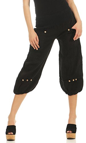 Malito Damen Hose aus Leinen | Stoffhose in Uni Farben | Freizeithose für den Strand | Chino - Capri Hose 1575 (schwarz, M)