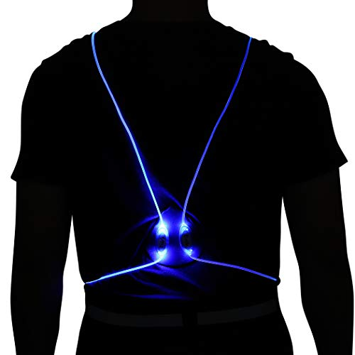 Heread LED Running Light Reflective Vest Illuminated Safety Gear High Visiblity Night Lights Multicolored Fiber Optics Night Sports Vests Running Walking Cycling for Women and Men (Blue Light)