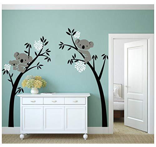 Bdecoll Vinilos decorativos/Árbol de 3 Koalas adhesivos vinilo de niños/habitación Guardería infantil Bebé decoración (negro)
