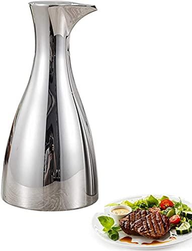 Botella De Aceite Botella De Acero Inoxidable 304 Dispensador De Vinagre Contenedor De Aceite De Cocina, Poder out Space A Prueba De Polvo, Salsa Cruet Silver 500Ml