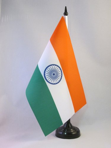 AZ FLAG TISCHFLAGGE Indien 21x14cm - INDISCHE TISCHFAHNE 14 x 21 cm - flaggen