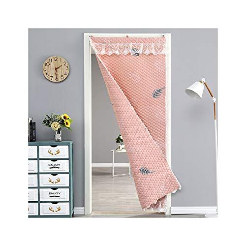 GGYMEI Cortina De Puerta , Sombreado Insonorizado Y Cálido Apto for Dormitorio Y Baño. Paño, 20 Tamaños (Color : Pink, Size : 80x200cm)
