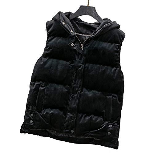 Winter Goud Fluwelen Vest Gilet Vrouwelijke Student Down Katoen Korte Losse Mouwloze Hooded Vest Jas Met Rits