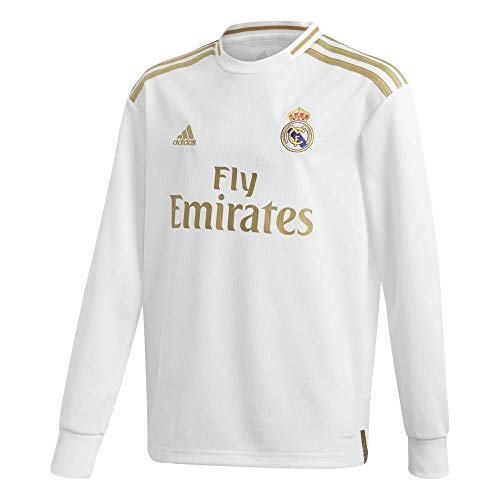adidas Youth Real Madrid Home Long Sleeve Jersey 2019-20 (White/Gold) (YM)