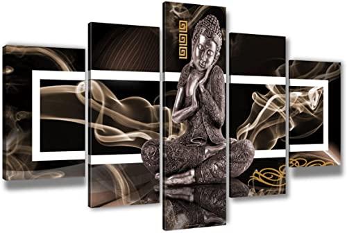 WYNH Lienzo decorativo de estatua de Buda religiosa, decoración moderna en lienzo, decoración para el salón, lienzo impreso, sin marco (40 x 60 cm x 2 40 x 80 cm x 2 40 x 100 cm x 1 cm)