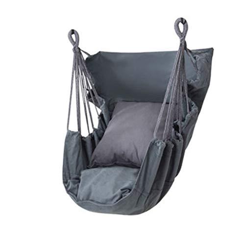 Hamaca de Asiento Suspendido, Hamaca Sillon Colgante para Jardín, Interior, Exterior, Salón o Patio, 150kg de Capacidad (Color : Gray)