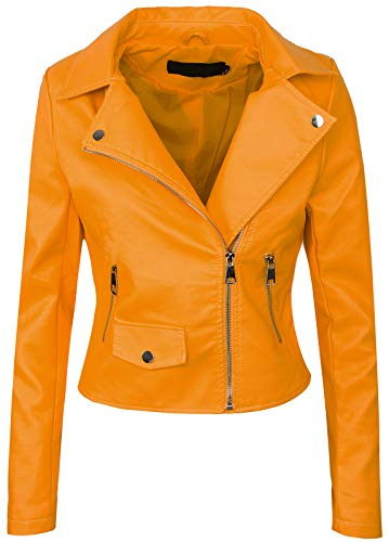 Rock Creek Selection Damen Biker Jacke Lederjacke D-271 [PU-2221B Gelb 36]