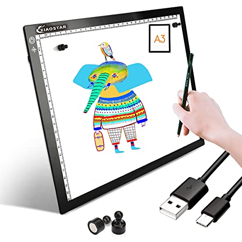 A3 LED Copy Board,Light Box Drawing Super Thin Pad Tracing Table USB Cable with Brightness Adjustable for Artists, AnimationDrawing, Sketching, Animation, X-ray Viewing-with Magnet