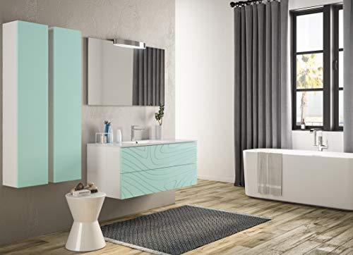 Piesse Mobili Badezimmermöbel klassisch aus Holz, Moderne Einrichtung, lackiert Tiffany, mit Mineralmarmor-Waschbecken