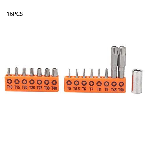 Broca de destornillador, juego de brocas de destornillador hexagonal de acero de aleación de 16 piezas para montaje de mantenimiento