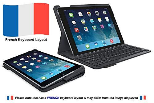 Logitech Type+ iPad Air 2 Hülle mit Kabelloser Tastatur, Bluetooth, USB-Anschluss, iOS-Sondertasten, 3-Monate Akkuleistung, Leichtgewicht, Französisches AZERTY-Layout - schwarz