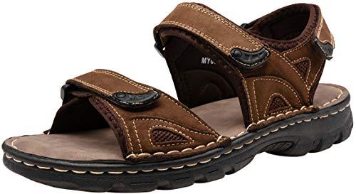 JOUSEN Men's Sandals Leather Outdoor Beach Sandal Open Toe Water Strap Sport Sandal (13,Dark Brown)