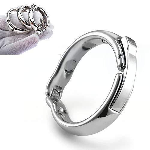ChicLSQ 4 Größe Penis Vorhaut Ring Metall Zurückhalte mit 6 Magneten Magnetverschluss Verstellbarer Eichelring Penisring für Männer die Behandlung von Vorhaut mit Magnet-Therapie (L (27-30mm))