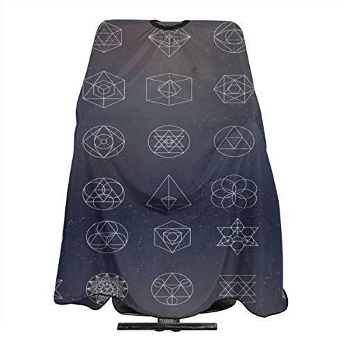 Just Relax Shop - Capa de corte de pelo con iconos de geometría, figuras esotéricas, de poliéster, delantal de corte de pelo, 55 x 66 pulgadas