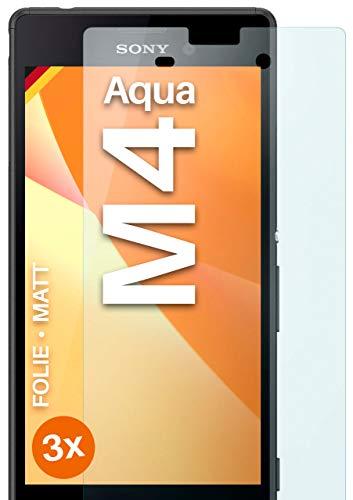 moex Schutzfolie matt kompatibel mit Sony Xperia M4 Aqua - Folie gegen Reflexionen, Anti Reflex Bildschirmschutz, Matte Bildschirmfolie - 3X Stück