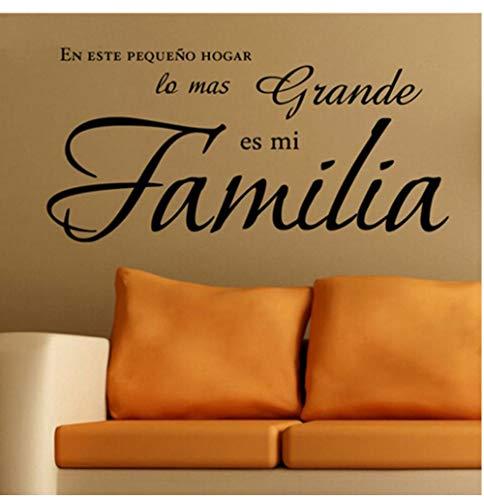 Wandaufkleber BGNH En este hogar lo mas grande es mi familia aufkleber pegatinas pared vinilos paredes letras decoracion89x43cm