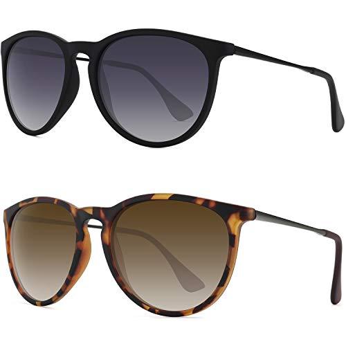 WOWSUN Gafas de sol polarizadas para mujer, estilo vintage, retro, redondas, con lentes de espejo, (Brown + Gray Gradient Lens(2 Pack)/Black Leopard Frames), Medium