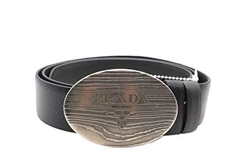 Prada - Cintura reversibile da uomo in pelle Saffiano, colore: Nero Nero 115/42