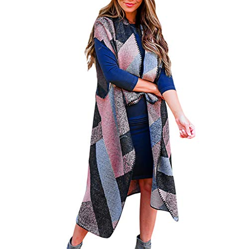 Huaya - Chaleco para Mujer, diseño de Rayas, sin Mangas, Ligero, Largo Azul Azul M