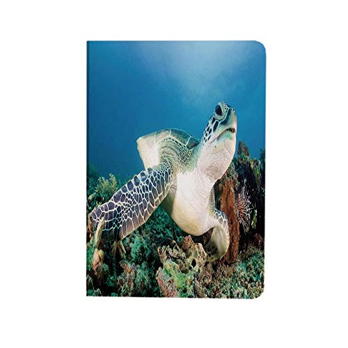 Turtle Case for ipad air 10.9 inch 2020 - Photo of Green Turtle and Lion Fish on Tropical Coral Reef Chelonia Snorkeling iPad Air 4 Case PU Leather Protective Stand Apple Cover Blue Green White