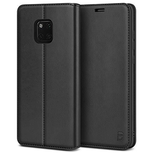 BEZ Handyhülle für Huawei Mate 20Pro Hülle, Tasche Kompatibel für Huawei Mate 20 Pro, Schutzhüllen aus Klappetui mit Kreditkartenhaltern, Ständer, Magnetverschluss, Schwarz